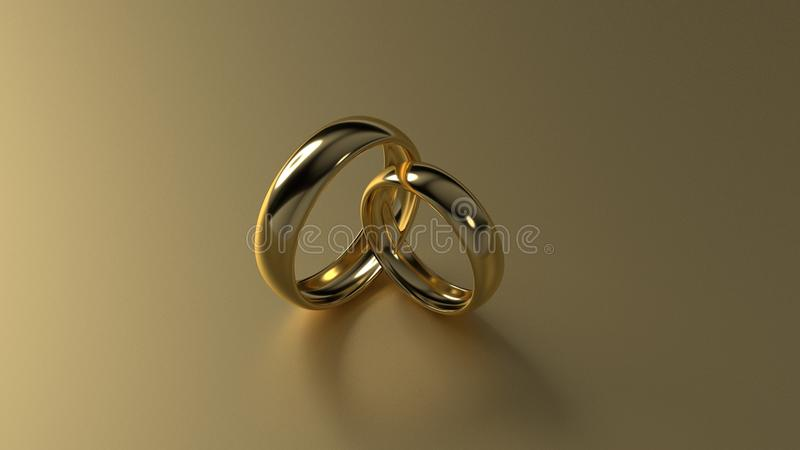 Обручальное кольцо красоты золотое на предпосылке золота перевод 3d стоковые изображения rf