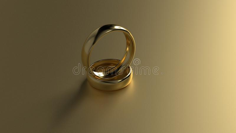 Обручальное кольцо красоты золотое на предпосылке золота перевод 3d стоковая фотография