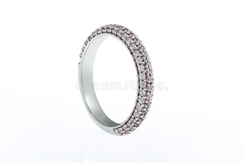Обручальное кольцо свадьбы белого золота иллюстрация вектора
