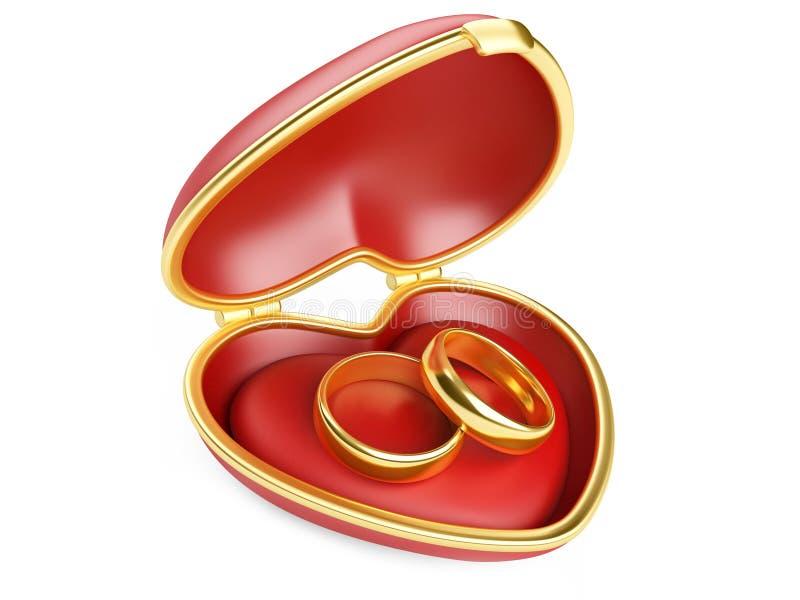 Обручальные кольца золота в коробке иллюстрация штока