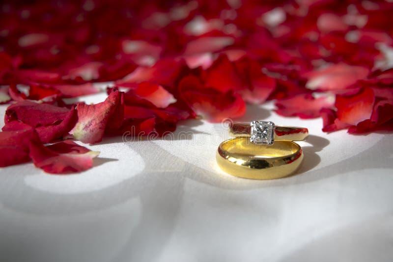 Обручальные кольца и розовые цветки на кровати стоковое фото rf