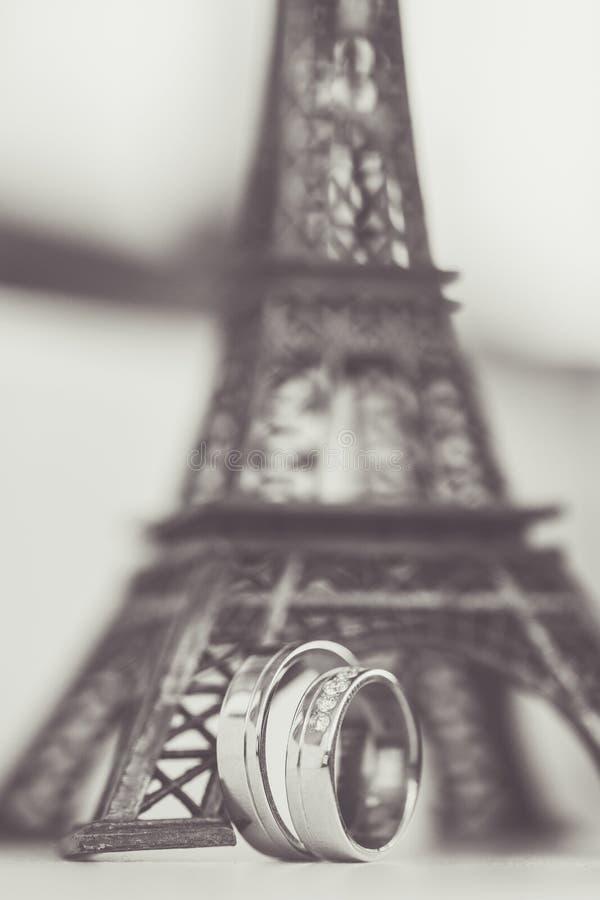 Обручальные кольца с Эйфелевой башней стоковые изображения