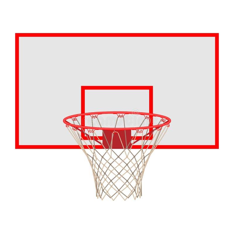 Обруч баскетбола на бакборте изолированном на белой предпосылке иллюстрация штока