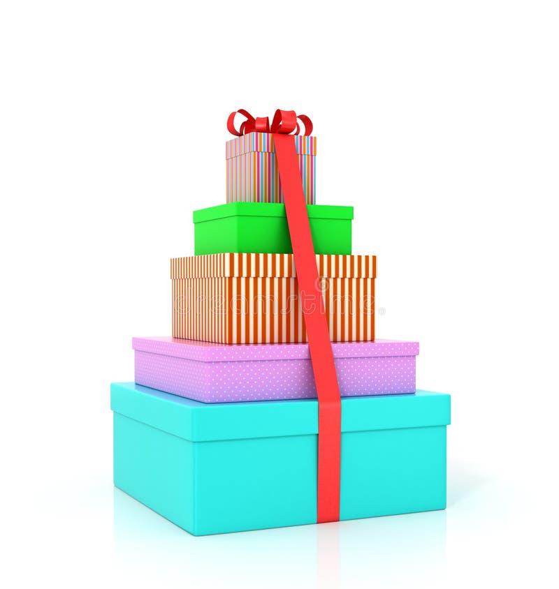 Обруч 5 красочный подарочных коробок с красными лентой и смычком иллюстрация вектора