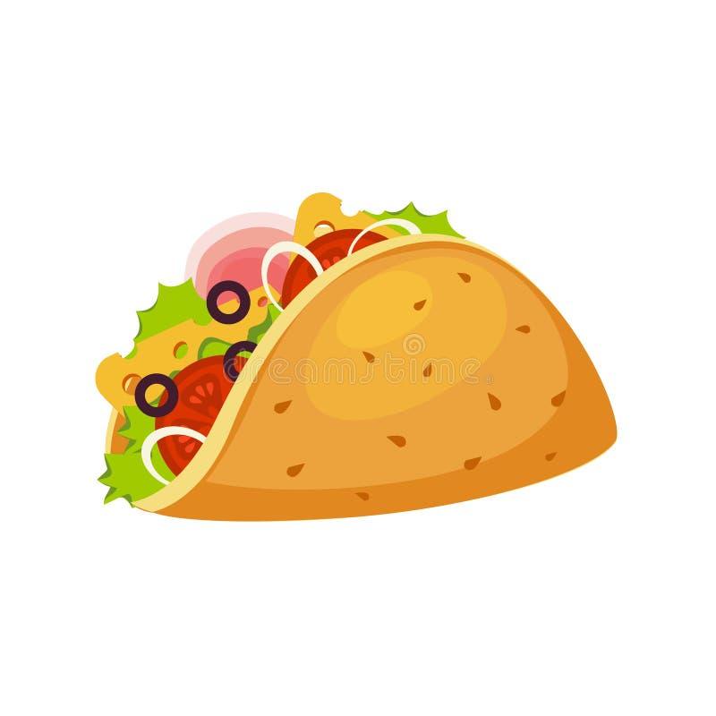 Обруч тако с Tortilla, ветчиной и овощами, значком вектора пункта меню кафа фаст-фуда улицы красочным иллюстрация вектора