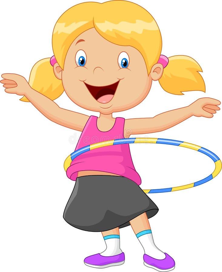 Обруч hula милого шаржа девушки вертясь иллюстрация штока
