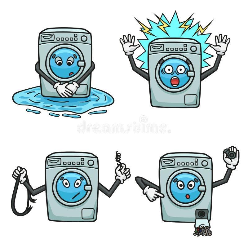 Обрыв стиральной машины в форме мультфильма иллюстрация вектора