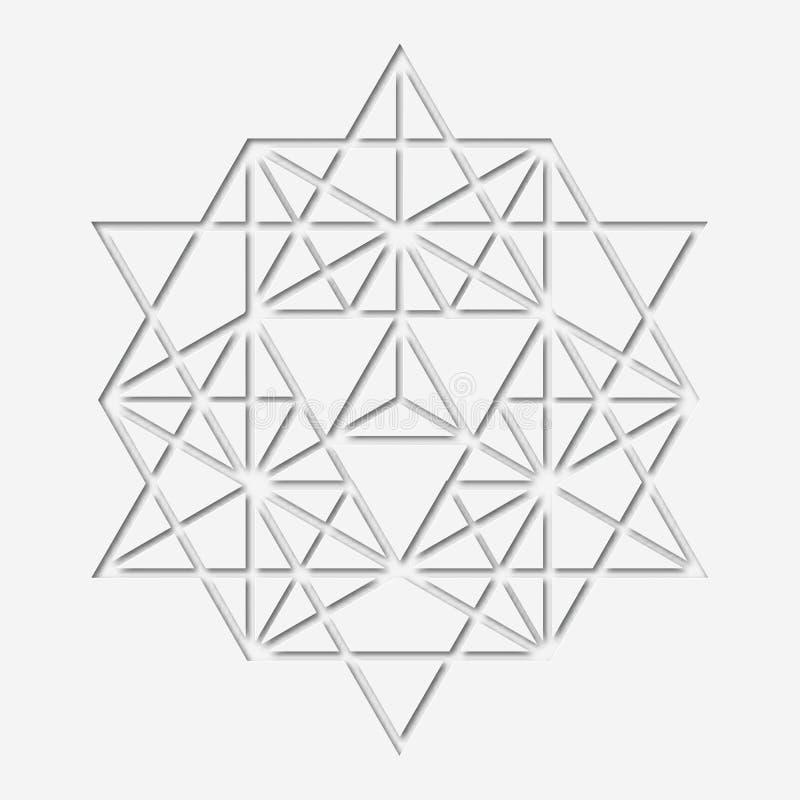 Обрядовый дизайн геометрии с полигоном Бумаг-сделанный волшебный символ, мистический кристалл Духовный papery график иллюстрация вектора