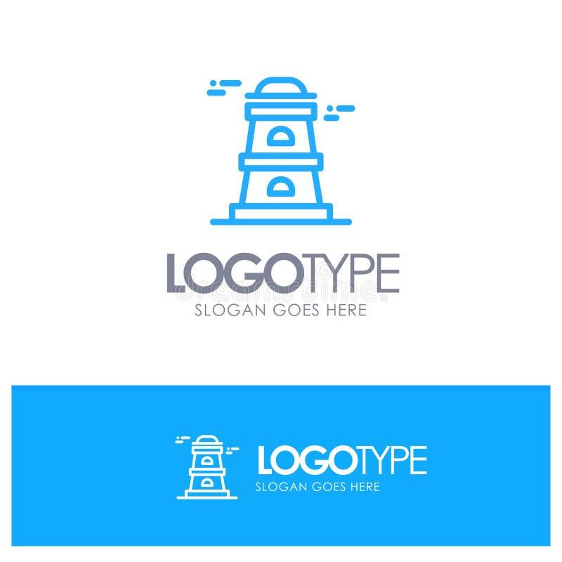Обсерватория, башня, логотип плана сторожевой башни голубой с местом для слогана иллюстрация вектора