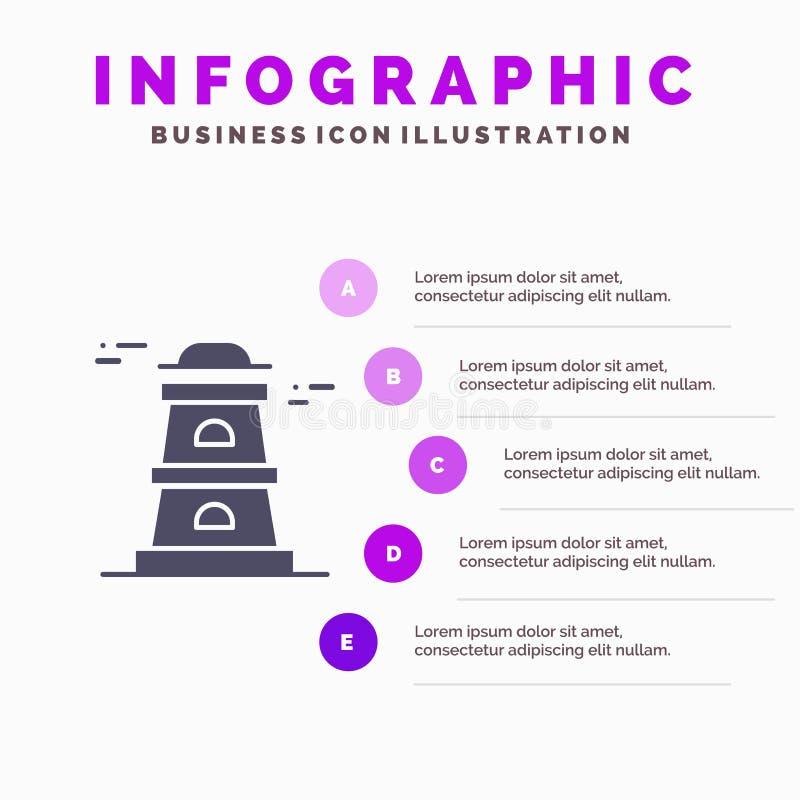 Обсерватория, башня, предпосылка представления шагов Infographics 5 значка сторожевой башни твердая бесплатная иллюстрация