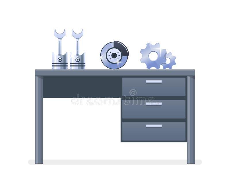 Обслуживайте замену, магазин автоматических запасных частей, оборудование и механизмы иллюстрация штока