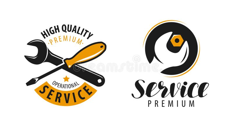 Обслуживайте логотип Ремонт, ярлык поддержания в исправном состоянии или символ также вектор иллюстрации притяжки corel иллюстрация вектора