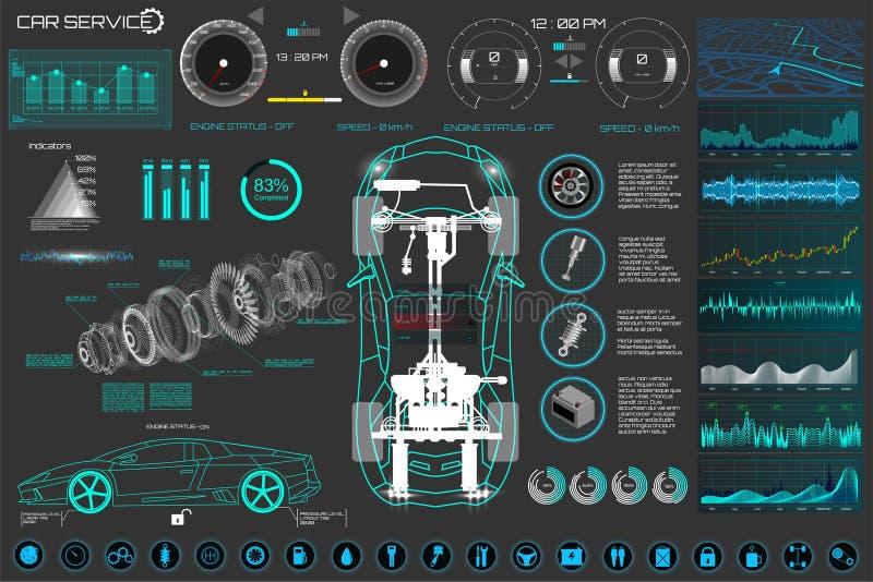 Обслуживание автомобиля автоматическое, современный дизайн, диагностический автомобиль иллюстрация вектора