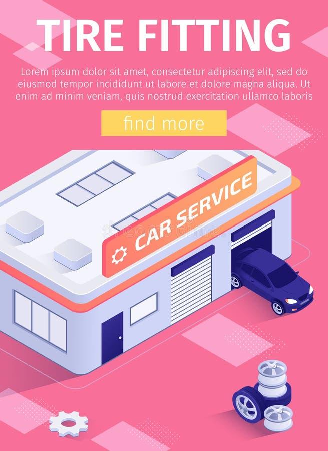 Обслуживание автомобиля автошины плаката средств массовой информации предлагая приспосабливая иллюстрация вектора
