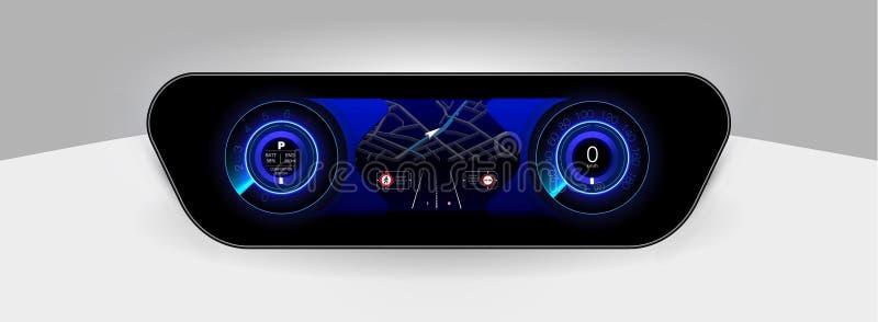 Обслуживание автомобиля в стиле HUD Виртуальный графический интерфейс Ui HUD Autoscanning, анализ и диагностики, абстрактное scie бесплатная иллюстрация