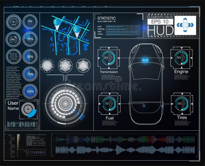 Обслуживание автомобиля в стиле HUD Виртуальный графический интерфейс Ui HUD Autoscanning, анализ и диагностики, иллюстрация штока