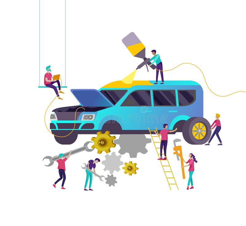Обслуживание автомобиля имея их ремонтировать, характеры людей мультфильма красит автомобиль, колеса изменения, ремонтную мастерс иллюстрация штока