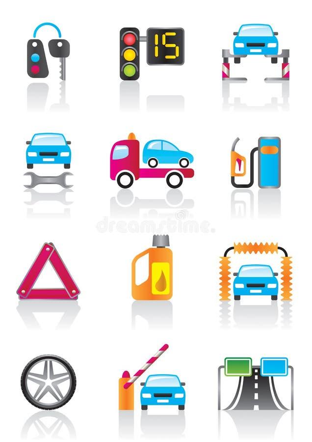Обслуживание автомобиля и автоматическое вспомогательное оборудование иллюстрация вектора