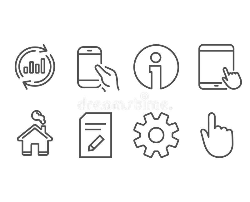Обслуживание, данные по обновления и редактирует значки документа ПК таблетки, smartphone владением и рука щелкают знаки иллюстрация вектора