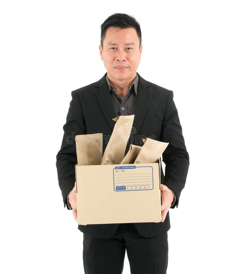 Обслуживание доставки бизнесмена, почта, снабжение и грузя концепция - изолированные на белой предпосылке стоковая фотография