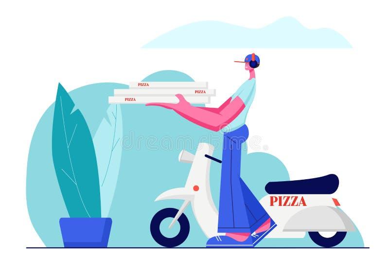 Обслуживание доставки пиццы, быстрая доставка заказа мопеда Милый Гай в крышке носит кучу коробок пиццы в руках для того чтобы ад бесплатная иллюстрация