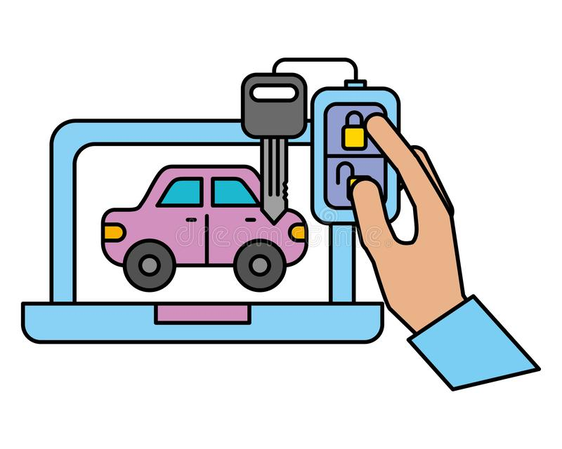 Обслуживание ключа цепи корабля автомобиля ноутбука автомобильное иллюстрация штока