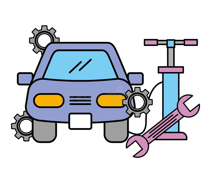 Обслуживание колеса воздуха насоса ключа корабля автомобильное бесплатная иллюстрация