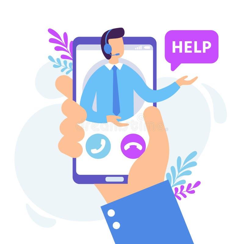 Обслуживание личного помощника Виртуальное приложение смартфона службы технической поддержки, личное советует с и онлайн вектор с бесплатная иллюстрация