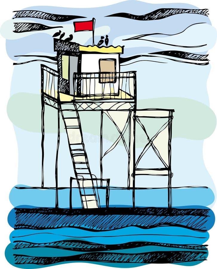 обслуживание моря сбережени жизни иллюстрация штока