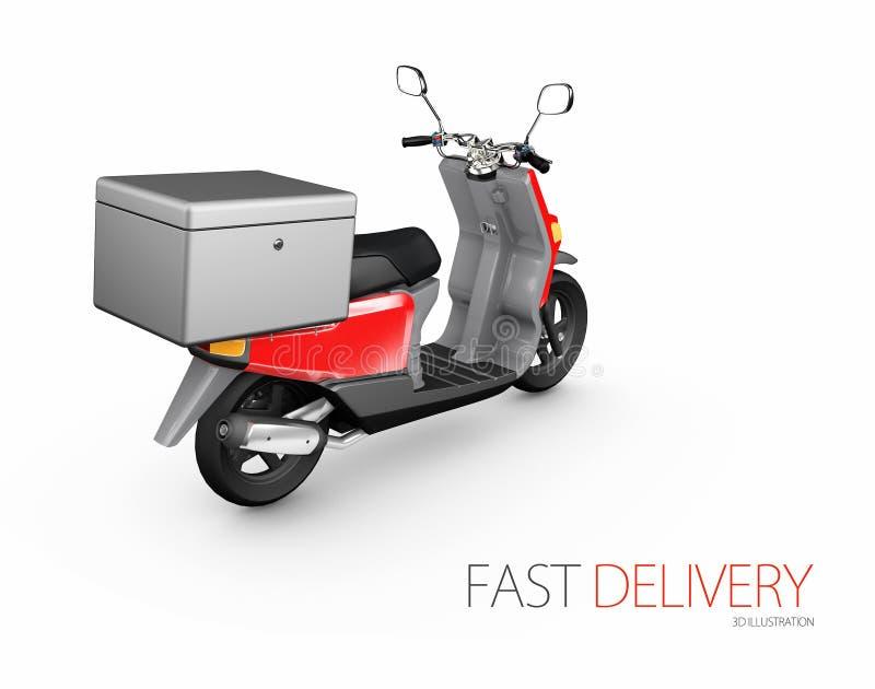 Обслуживание мотоцикла самоката езды поставки, заказ, быстрые и свободно транспортируют, иллюстрация 3d иллюстрация штока