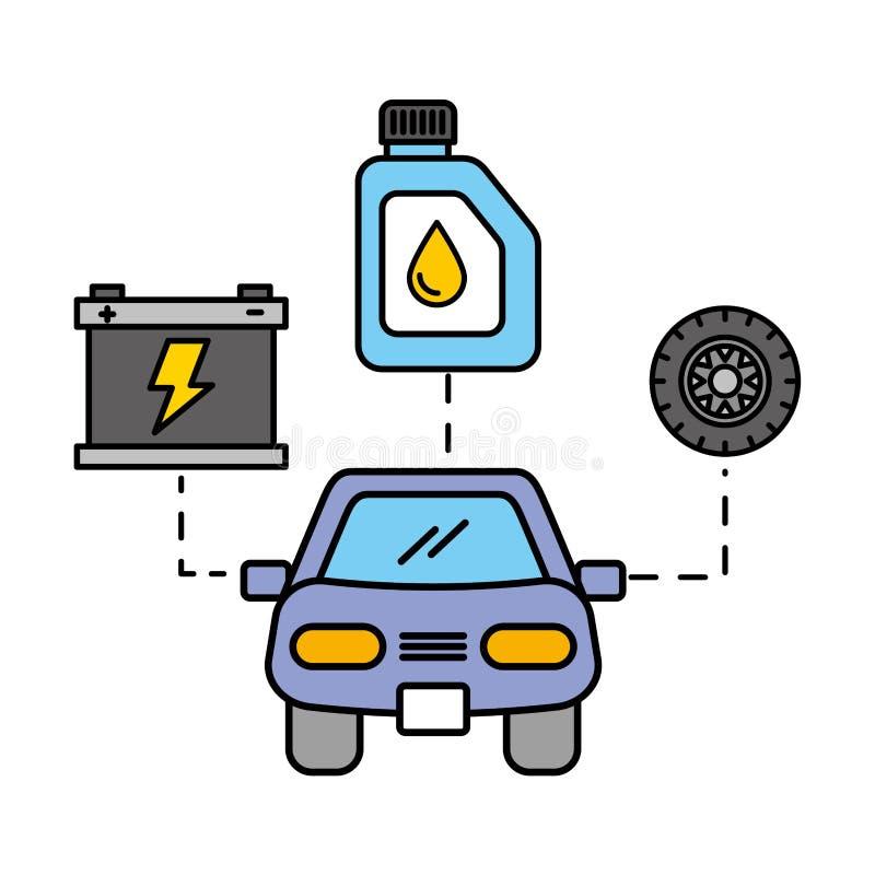 Обслуживание покрышки масла батареи корабля автомобиля автомобильное иллюстрация штока