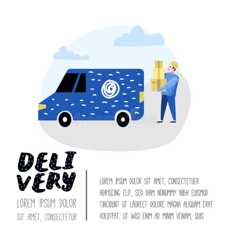 Обслуживание поставки, плакат индустрии груза, знамя Характер курьера Почтовый работник в форме с пакетами иллюстрация штока