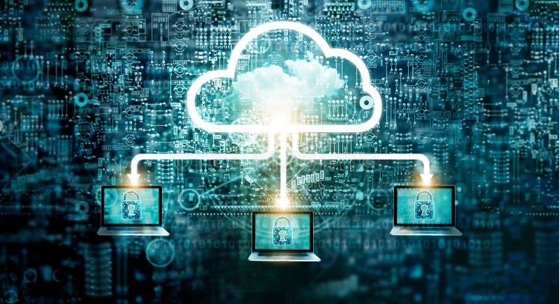 Обслуживание технологии хранения данных сети диаграммы облака вычисляя стоковое фото