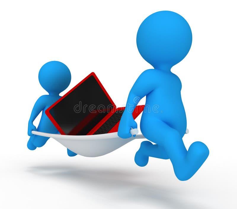 обслуживание человека компьтер-книжки иллюстрация штока