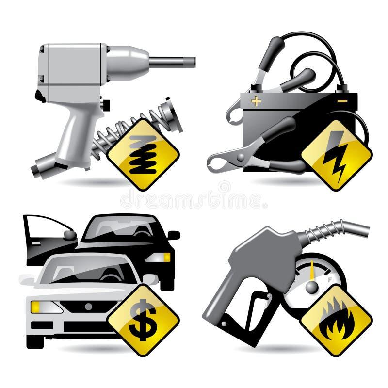 обслуживание 2 икон автомобиля иллюстрация штока