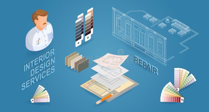 Обслуживания дизайна интерьера Иллюстрация 3d равновеликого вектора плоская бесплатная иллюстрация