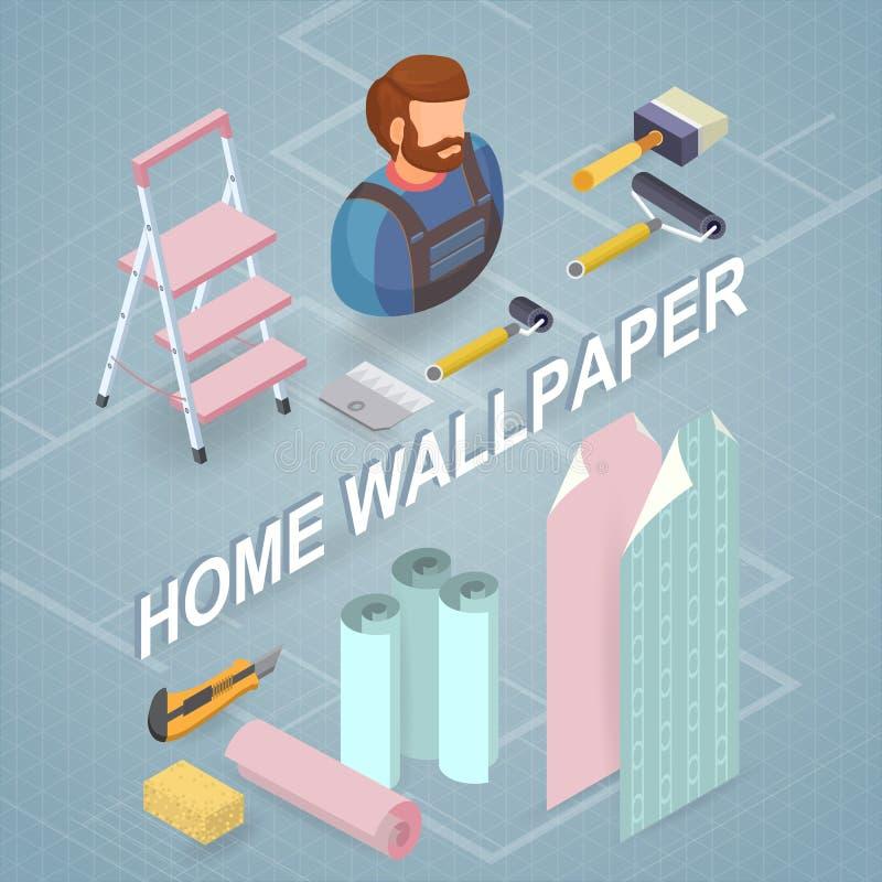 Обслуживания здания Равновеликая концепция Работник, оборудование бесплатная иллюстрация