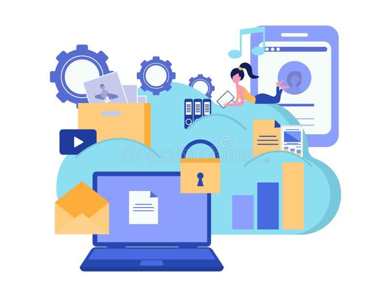 Обслуживания и технология облака вычисляя Хранение облака Защита данных владение домашнего ключа принципиальной схемы дела золоти иллюстрация штока