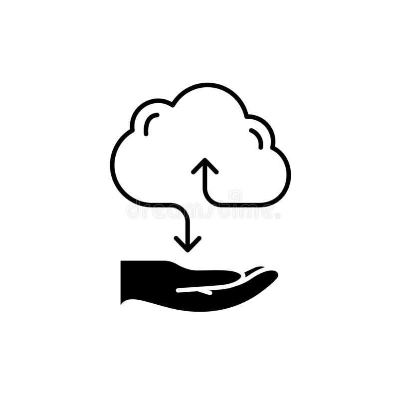 Обслуживания черный значок облака, знак вектора на изолированной предпосылке Символ концепции обслуживаний облака, иллюстрация бесплатная иллюстрация