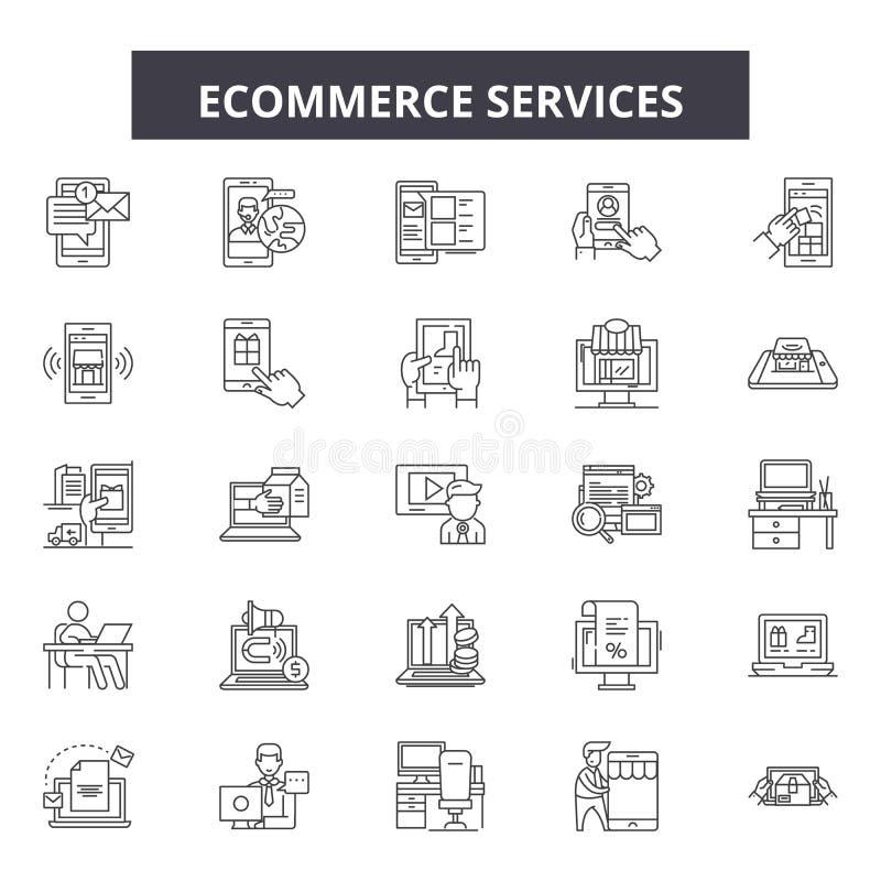 Обслуживания Ecommerce выравнивают значки, знаки, набор вектора, концепцию иллюстрация штока