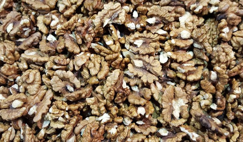 Обстреливаемые грецкие орехи как предпосылка стоковые фото