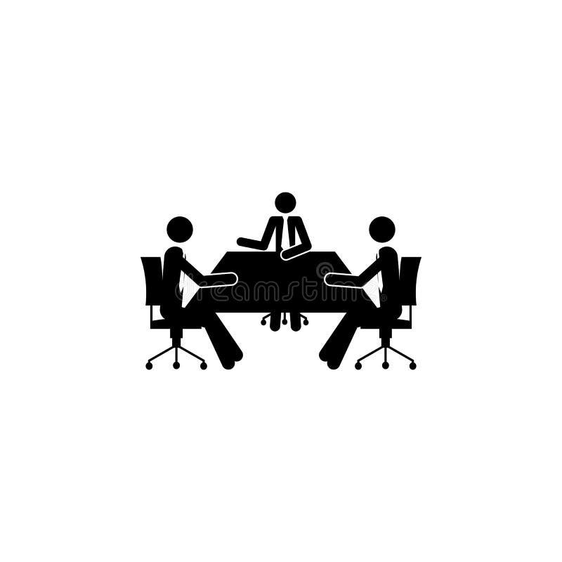 обсуждение дела на значке таблицы Элемент людей на значке работы для передвижных apps концепции и сети Детальное discussio дела иллюстрация штока