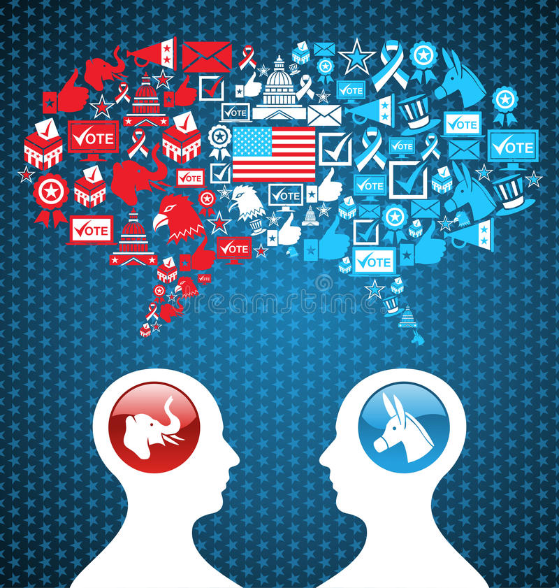 Обсуждение social избраний США политическое иллюстрация вектора