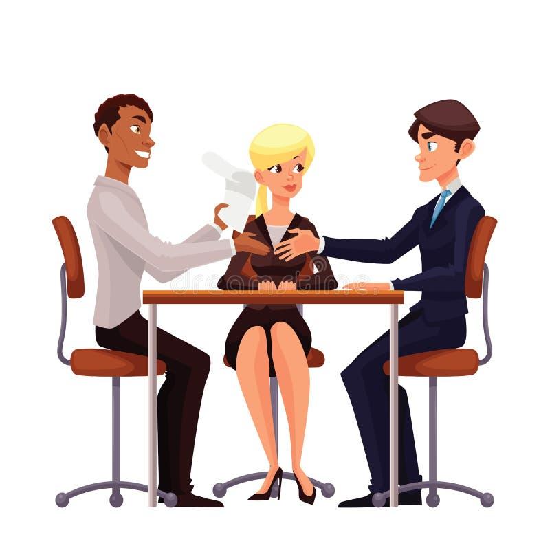 Обсуждение дела на таблице работников иллюстрация вектора