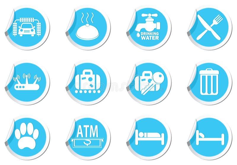 Обслуживайте значки на голубом комплекте ярлыков иллюстрация штока