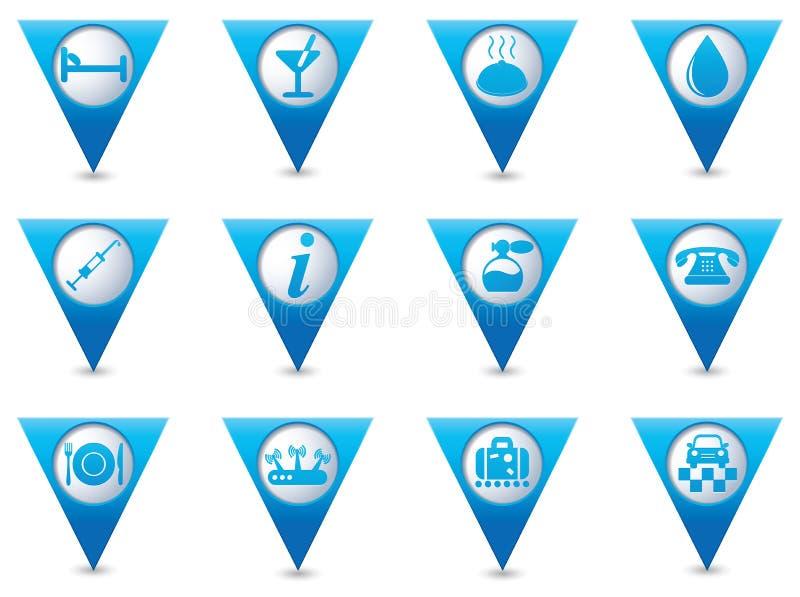 Обслуживайте значки на голубых установленных указателях иллюстрация штока