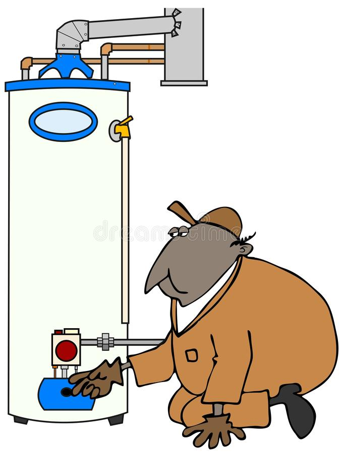 Обслуживайте техника проверяя нагреватель воды иллюстрация вектора
