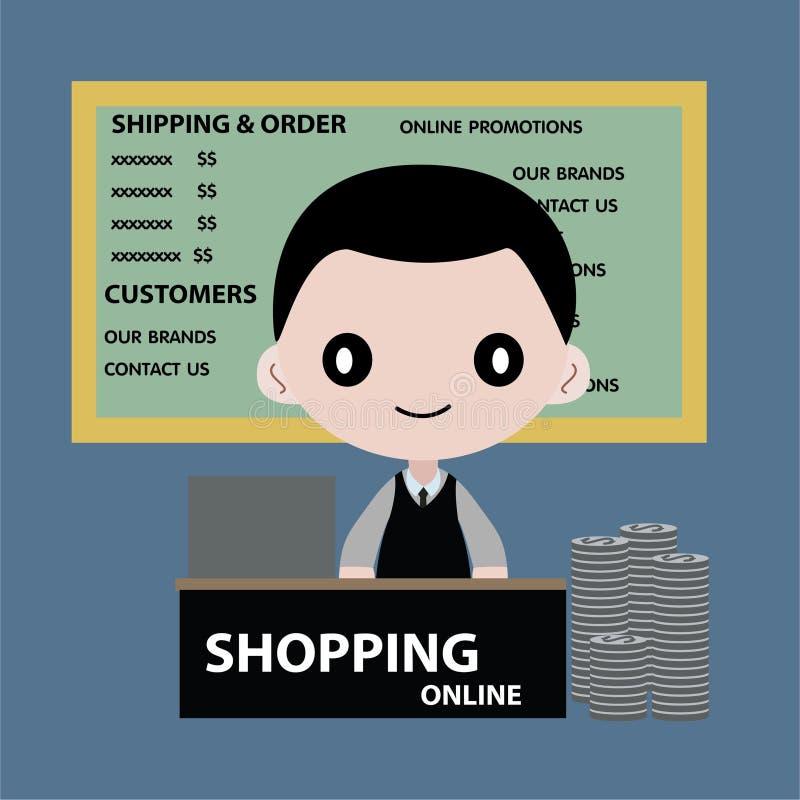 Обслуживание бизнесмена встречное ходить по магазинам онлайн иллюстрация штока