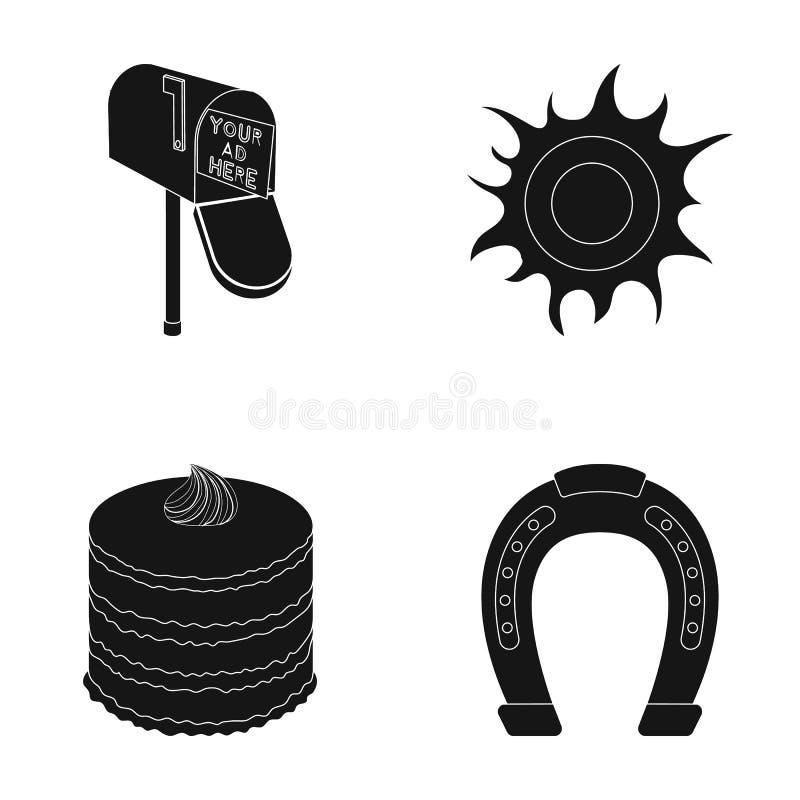 Обслуживание, варящ и или значок сети в черном стиле Космос, значки ипподрома в собрании комплекта иллюстрация вектора