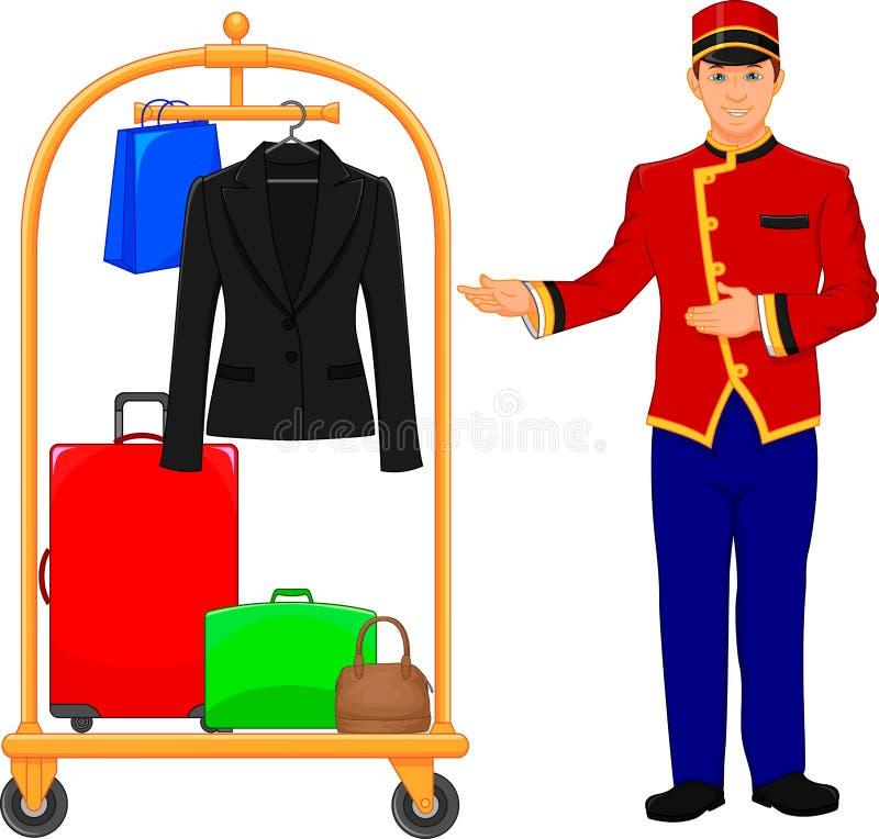 Обслуживание гостиницы коридорного и вагонетка багажа иллюстрация вектора